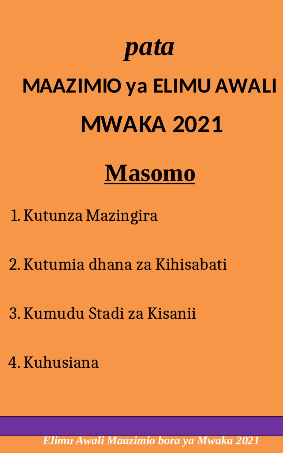 Maazimio Elimu Awali Mwaka 2021
